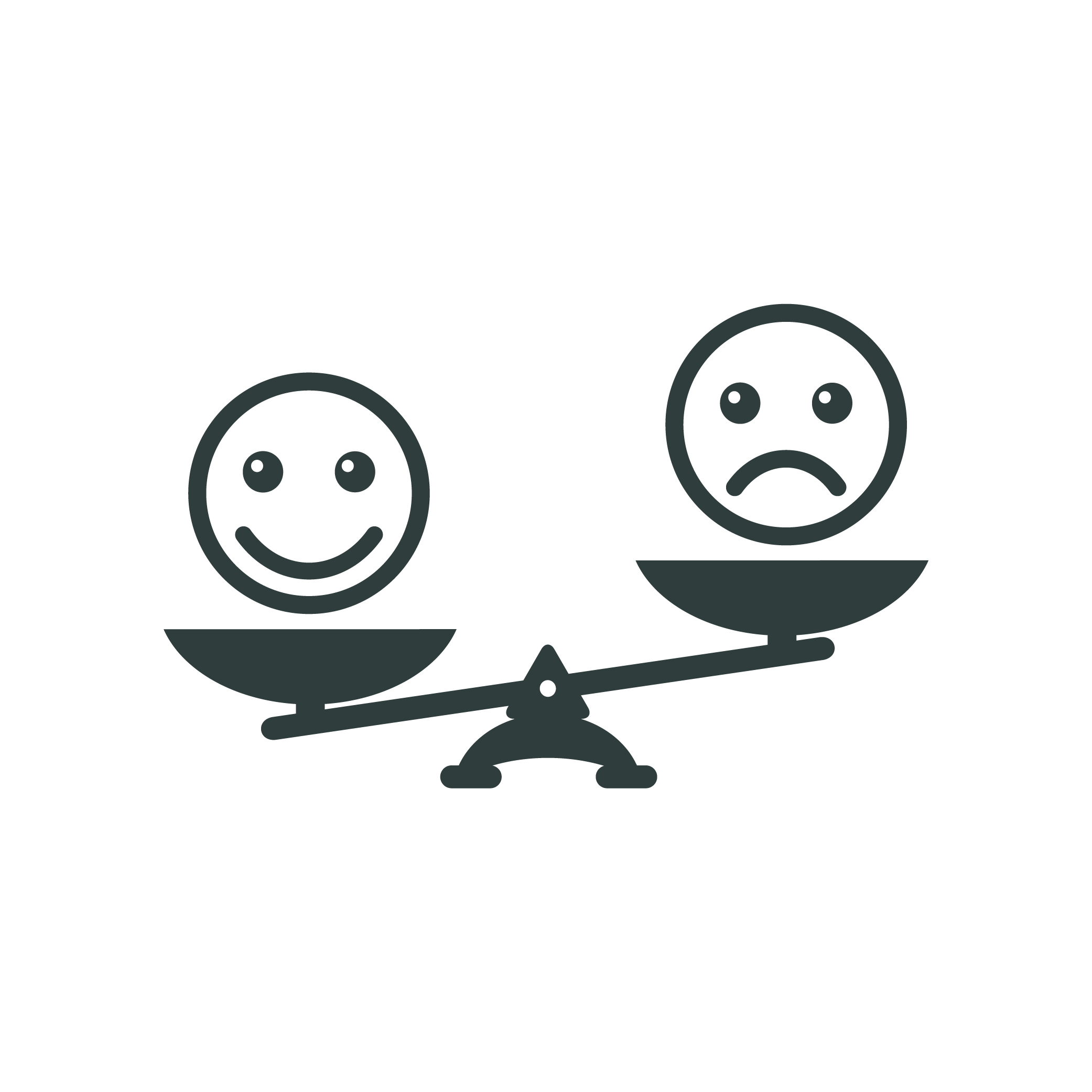 Smiley emoticons different mood on scales. Positive attitude as advantage. Happiness versus sadness
